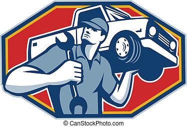 önmagától mozgó, szerelő, autó megjavítás, retro
