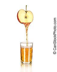 öntés, alma, pohár, elszigetelt, lé, fehér