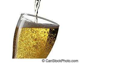 öntés, elszigetelt, pohár, sör, háttér, fehér