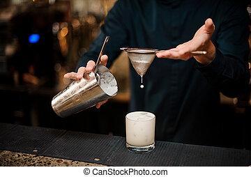 öntés, koktél, alkoholista, pohár, csapos, milkshake
