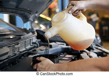 öntés, olaj, autó hajtómű