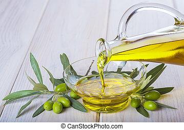 öntés, olaj, rendkívüli, tál, szűz, palack, olajbogyó