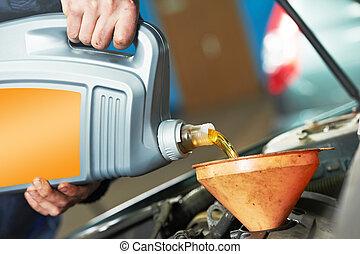 öntés, olaj, szerelő, autó, kéz, closeup, motor
