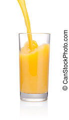 öntés, pohár, elszigetelt, lé, háttér, narancs, fehér