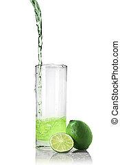 öntés, pohár, elszigetelt, lé, zöld white, lime
