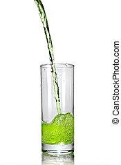öntés, pohár, elszigetelt, lé, zöld white