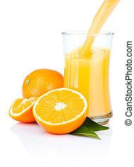 öntés, pohár, elszigetelt, narancsfák, lé, háttér, friss, fehér