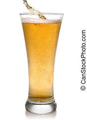 öntés, sör, fehér, elszigetelt, pohár