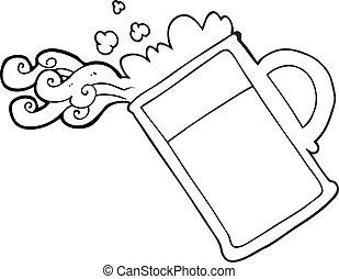 öntés, sör, fekete, fehér, karikatúra