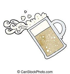 öntés, sör, karikatúra, textured