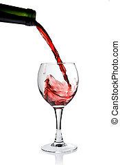 öntés, talpas pohár, elszigetelt, white piros, bor