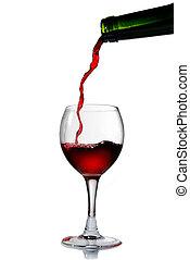 öntés, talpas pohár, vörös bor