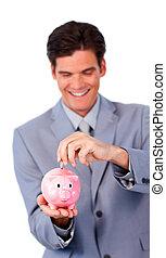 önző, üzletember, takarékbetét pénz, alatt, egy, piggy-bank