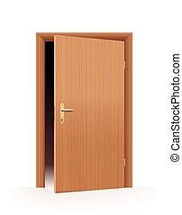 öppen dörr, halvt