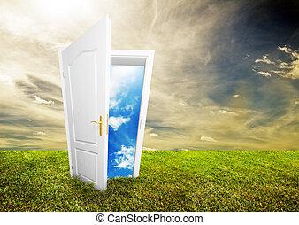 öppen dörr, till, ny tillvaro
