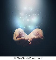 öppen lämnar, med, magi, particles., holdingen, ge sig, visande, concept., selctive, fokusera, på, fingers.