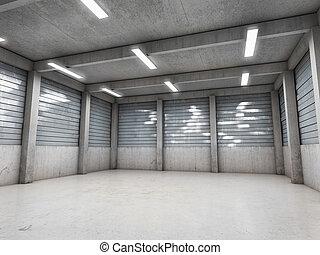 öppen mellanslag, tom, garage