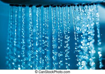 öppen plats tåra, flytande, från, shower.