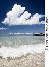 öppen plats tåra, och blåa, sky, paradis, strand