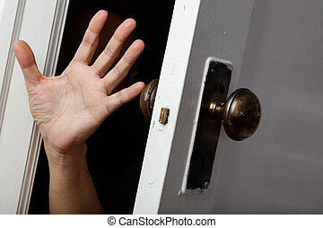öppna, a, gammal, dörr