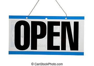 öppna, affärsverksamhet signera