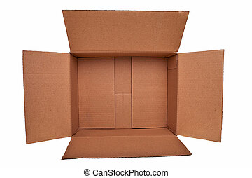 öppna, brun, kartong, boxas, isolerat, över, vit, bakgrund.