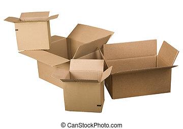 öppna, brun, kartong kassera