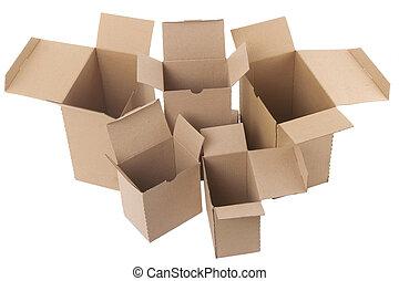 öppna, brun, kartong kassera, vita, bakgrund