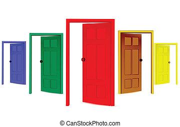 öppna, färgrik, dörrar