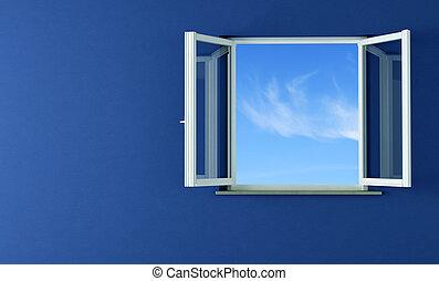 öppna, fönstren, och blåa, vägg