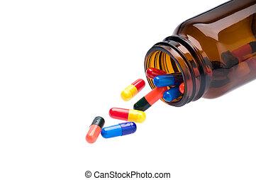öppna, farmaceutisk, flaska, vilket, utskov, färgad, kapsyler