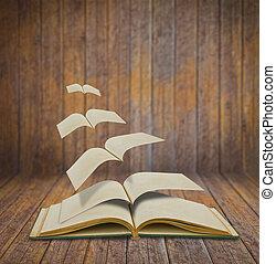 öppna, flygning, gamla böcker, in, ved, rum