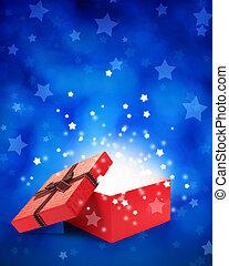 öppna, gåvan boxas, med, lätt, insideout