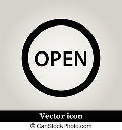 öppna, grå, bakgrund, ikon