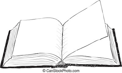 öppna, grov, bok, -, illustration