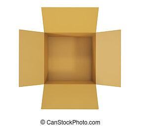öppna, kartong kasse, insida, utsikt.
