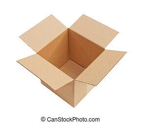 öppna, kartong kasse, isolerat
