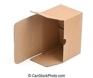 öppna, kartong kasse