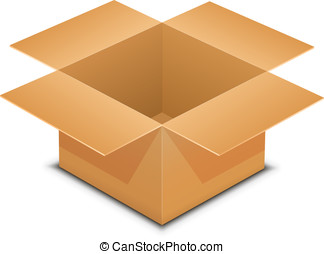öppna, kartong kasse, vita