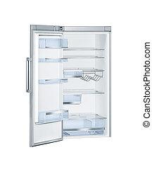 öppna, kylskåp, dörrar, isolerat