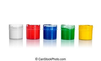 öppna, målarfärgs burkar, gul, grön, blå, röd, vit, färger