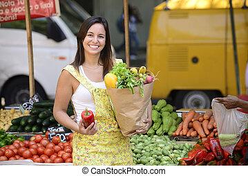 öppna, market., inköp, kvinna, gata