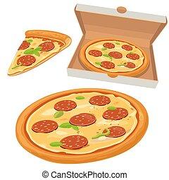 öppna, nät, andelar, peperoni, menyer, pizza, box., logotype...