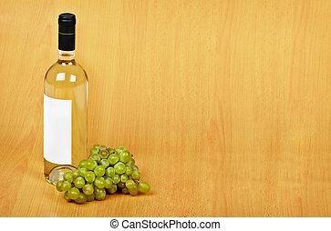 öppna, ordning, av, flaska, av, vit vin