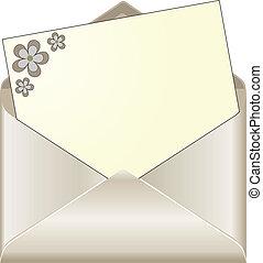 öppna, packa in, med, blommig, skrivpapper