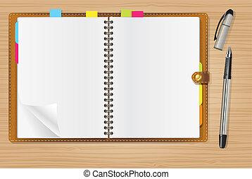 öppna, penna, dagbok