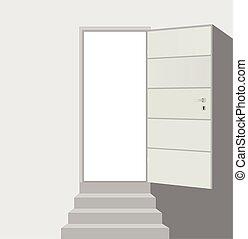 öppna, rak, dörr