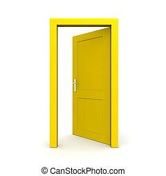 öppna, singel, gul dörr