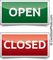 öppna, -, stängd, färg, bord