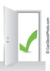 öppna, symbol, dörr, acceptera